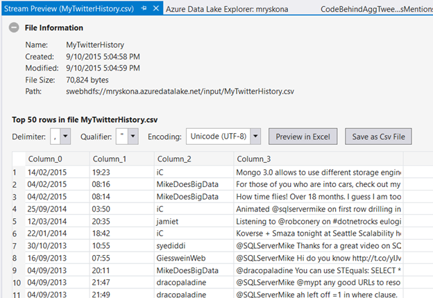 Previewing data in Visual Studio
