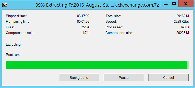 Extracting all the folders with 7-Zip
