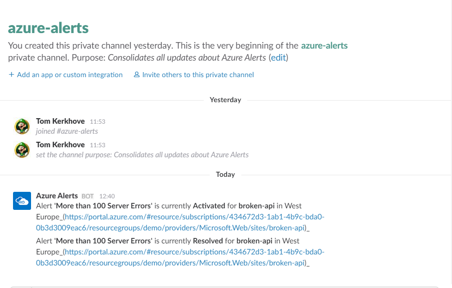 Example of Notifications in Slack
