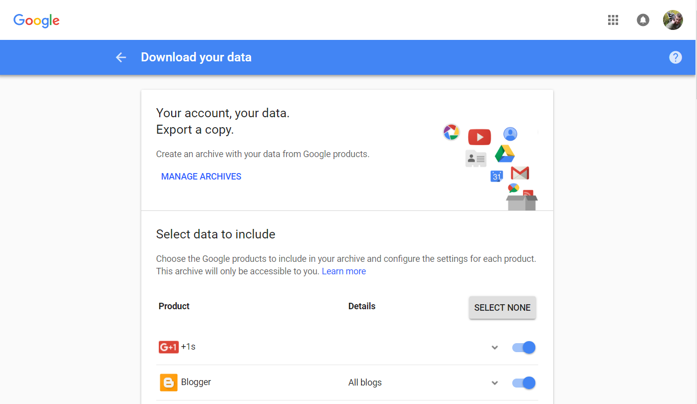 Google Data Export