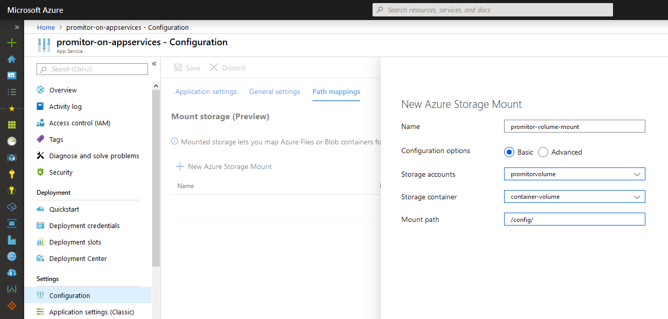 Mounting Volumes on Azure Web App for Containers